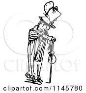 Clipart Of A Retro Vintage Black And White Old Woman Using A Cane Royalty Free Vector Illustration by Prawny Vintage