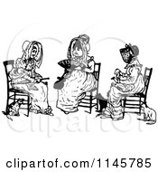 Clipart Of A Retro Vintage Black And White Trio Of Old Women Sitting Royalty Free Vector Illustration by Prawny Vintage