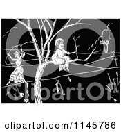 Clipart Of Retro Vintage Black And White Old Ladies Stuck In A Tree Royalty Free Vector Illustration