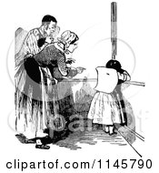 Clipart Of A Retro Vintage Black And White Girl Getting Put In Time Out Royalty Free Vector Illustration