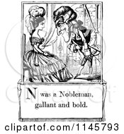 Clipart Of A Retro Vintage Black And White Letter Page With N Was A Nobleman Gallant And Bold Text Royalty Free Vector Illustration