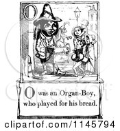 Clipart Of A Retro Vintage Black And White Letter Page With O Was An Organ Boy Who Played For His Bread Text Royalty Free Vector Illustration