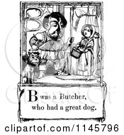 Clipart Of A Retro Vintage Black And White Letter Page With B Was A Butcher Who Had A Great Dog Text Royalty Free Vector Illustration by Prawny Vintage