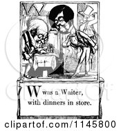 Clipart Of A Retro Vintage Black And White Letter Page With W Was A Waiter With Dinners In Store Text Royalty Free Vector Illustration by Prawny Vintage