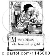 Clipart Of A Retro Vintage Black And White Letter Page With M Was A Miser Who Hoarded Up Gold Text Royalty Free Vector Illustration