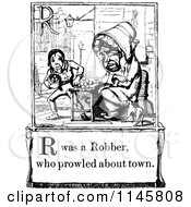 Clipart Of A Retro Vintage Black And White Letter Page With R Was A Robber Who Prowled About Town Text Royalty Free Vector Illustration