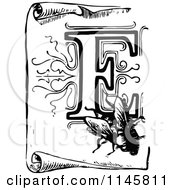 Clipart Of A Retro Vintage Black And White Letter F And Fly On A Scroll Royalty Free Vector Illustration