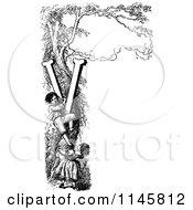 Clipart Of Retro Vintage Black And White Children Climbing A Letter V Vine  Royalty Free Vector Illustration