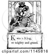 Clipart Of A Retro Vintage Black And White Letter Page With K Was A King So Mighty And Grand Text Royalty Free Vector Illustration by Prawny Vintage