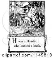 Clipart Of A Retro Vintage Black And White Letter Page With H Was A Hunter Who Hunted A Buck Text Royalty Free Vector Illustration