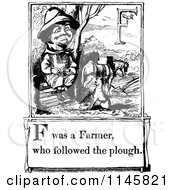Clipart Of A Retro Vintage Black And White Letter Page With F Was A Farmer Who Followed The Plough Text Royalty Free Vector Illustration
