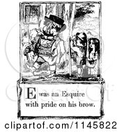 Clipart Of A Retro Vintage Black And White Letter Page With E Was An Esquire With Bride On His Brow Text Royalty Free Vector Illustration