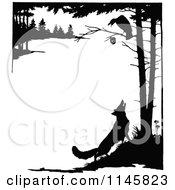 Clipart Of A Retro Vintage Silhouetted Fox Looking Up At A Crow In A Tree Royalty Free Vector Illustration