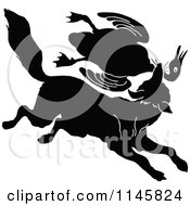 Clipart Of A Retro Vintage Silhouetted Fox Lattacking A Goose Royalty Free Vector Illustration