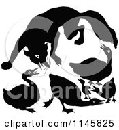 Clipart Of A Retro Vintage Silhouetted Fox Attacking Geese Royalty Free Vector Illustration by Prawny Vintage