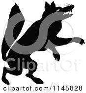 Clipart Of A Retro Vintage Silhouetted Fox Jumping Royalty Free Vector Illustration by Prawny Vintage