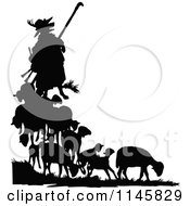 Clipart Of A Retro Vintage Silhouetted Fox In Shepherd Clothing And Sheep Royalty Free Vector Illustration by Prawny Vintage