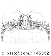 Retro Vintage Black And White Beetle And Floral Page Border 1