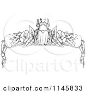 Clipart Of A Retro Vintage Black And White Beetle And Floral Page Border 2 Royalty Free Vector Illustration