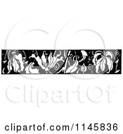 Clipart Of A Retro Vintage Black And White Leaf Border Royalty Free Vector Illustration