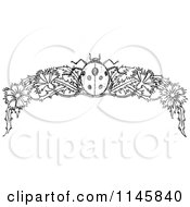 Clipart Of A Retro Vintage Black And White Ladybug And Floral Page Border Royalty Free Vector Illustration