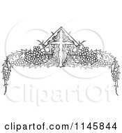 Clipart Of A Retro Vintage Black And White Cross And Grape Vine Page Border Royalty Free Vector Illustration