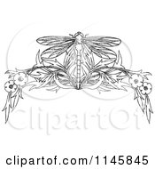 Clipart Of A Retro Vintage Black And White Dragonfly And Floral Page Border Royalty Free Vector Illustration