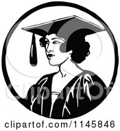 Clipart Of A Retro Vintage Black And White Graduate Woman Royalty Free Vector Illustration