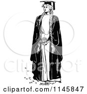 Clipart Of A Retro Vintage Black And White Graduate Woman With Long Braided Hair Royalty Free Vector Illustration