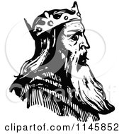 Clipart Of A Retro Vintage Black And White King In Profile Royalty Free Vector Illustration by Prawny Vintage