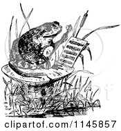 Clipart Of A Retro Vintage Black And White Frog Playing A Banjo On A Mushroom Royalty Free Vector Illustration