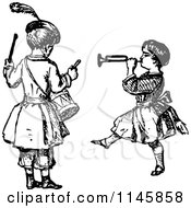 Clipart Of Retro Vintage Black And White Kids Playing The Drums And A Horn Royalty Free Vector Illustration by Prawny Vintage