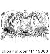 Clipart Of Retro Vintage Black And White Ladies Roses And A Lantern Royalty Free Vector Illustration by Prawny Vintage