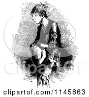 Clipart Of A Retro Vintage Black And White Poor Boy Royalty Free Vector Illustration