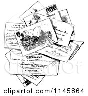 Clipart Of A Retro Vintage Black And White Stack Of Post Cards Royalty Free Vector Illustration