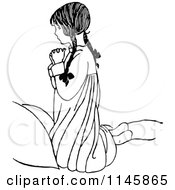 Clipart Of A Retro Vintage Black And White Religious Girl Praying Royalty Free Vector Illustration