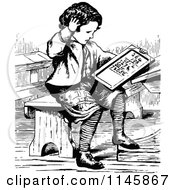 Clipart Of A Retro Vintage Black And White Boy Doing Math Royalty Free Vector Illustration by Prawny Vintage