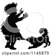 Clipart Of A Retro Vintage Silhouetted Dog Biting A Girls Dress Royalty Free Vector Illustration by Prawny Vintage