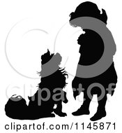 Clipart Of A Retro Vintage Silhouetted Dog Begging To A Girl Royalty Free Vector Illustration
