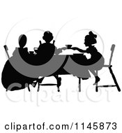 Retro Vintage Silhouetted Tea Party With Girls