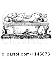 Clipart Of A Retro Vintage Black And White Dead Or Sleeping Dog On A Rabbit Bench Royalty Free Vector Illustration