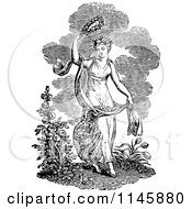 Clipart Of A Retro Vintage Black And White Spring Woman Royalty Free Vector Illustration