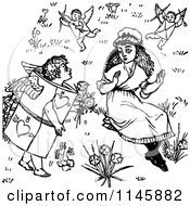 Clipart Of A Retro Vintage Black And White Girl Surrounded By Valentine Cherubs Royalty Free Vector Illustration