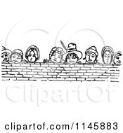 Clipart Of Retro Vintage Black And White People Looking Over A Brick Wall Royalty Free Vector Illustration