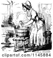 Clipart Of A Retro Vintage Black And White Lady Washing Laundry In A Tub Royalty Free Vector Illustration by Prawny Vintage
