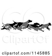 Clipart Of A Retro Vintage Silhouetted Border Of Running Dogs Royalty Free Vector Illustration