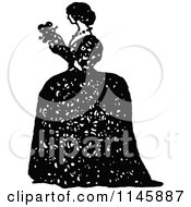 Clipart Of A Retro Vintage Black And White Lady In A Big Dress Royalty Free Vector Illustration by Prawny Vintage