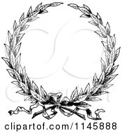 Clipart Of A Retro Vintage Black And White Wreath Royalty Free Vector Illustration by Prawny Vintage