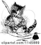 Clipart Of A Retro Vintage Black And White Cat Writing A Letter Royalty Free Vector Illustration by Prawny Vintage #COLLC1145889-0178