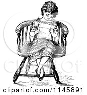 Clipart Of A Retro Vintage Black And White Girl Reading A Letter Royalty Free Vector Illustration